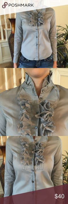 J. Crew Tuxedo Ruffled button down This J. Crew is gorgeous and features a beautiful tuxedo Ruffles to the max button down, stand up collar, 100% cotton with a very nice stretch and in perfect condition! J. Crew Tops Button Down Shirts