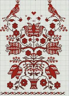 Black and Red Cross-Stitch Cross Stitch Bird, Cross Stitch Borders, Cross Stitch Samplers, Cross Stitch Flowers, Cross Stitch Charts, Cross Stitch Designs, Cross Stitching, Cross Stitch Patterns, Embroidery Sampler