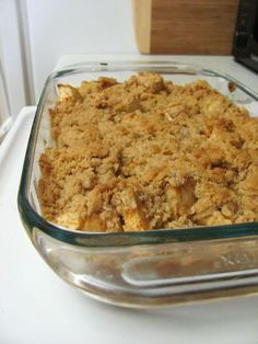 simple apple crisp you'll ever eat.  FIVE ingredients! FIVE!  1 cup flour 1 cup brown sugar 1/2 cup of butter (usually equals 1 stick) 2-3 big apples (I'm biased towards Honeycrisp. Basically, they're the best.) ground cinnamon (I added this to the recipe because I'm a cinnamon fanatic)