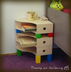 Frisky bedside table for children - IKEA Hackers manual and other ideas here: http://napadyproanicku.cz/spis-pro-mamy/item/462-hravy-nocni-stolek
