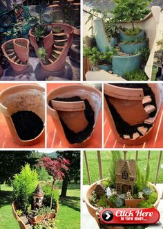 Garden Design Jardines Fairy Garden in one of the fun ways of decorating gardens by using broken pots, wood pieces, planters soil and other wrecked items. It creates a miniature fantasy garden with the help of unusable items.