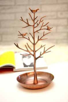Jewelry holder: copper tree with birds