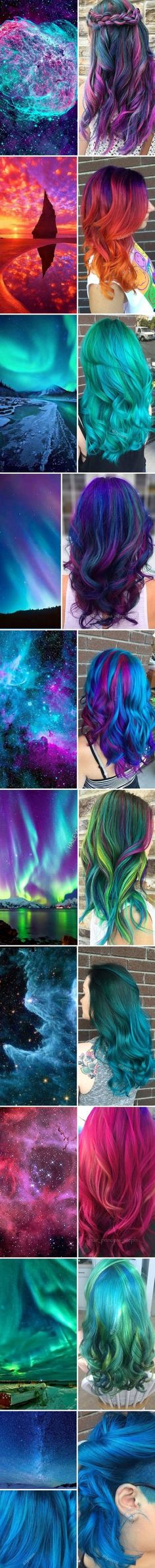 awesome Galaxy hair- various different styles of galaxy hair. I love the pastel and rain...