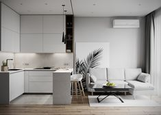 Behance is the world's largest creative network for showcasing and discovering creative work Kitchen Room Design, Home Room Design, Living Room Kitchen, Interior Design Kitchen, Small Apartment Interior, Small Apartment Kitchen, Modern Small Apartment Design, Small Apartment Layout, Minimal Apartment