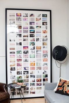 Visually arresting display of lots of small photos in one giant frame! Don't frame old originals, they'll fade. Scan them with iPhone or iPad + Pic Scanner app (Download free). App also lets you resize photos and apply vintage filters (B&W, sepia etc.) to give them a uniform look. Print and frame! Inspiration: cocokelley.com