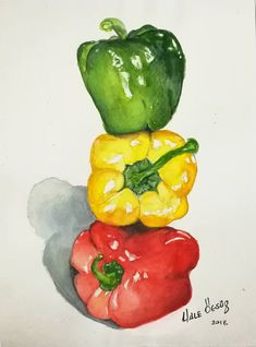 Original Still Life Painting by Hale Ogsuz   Illustration Art on Paper   Peppers