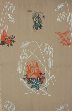 Grass and Swan wallpaper design variations designed by Edward Bawden, c.1938.  This is one wallpaper sample by Edward Bawden with an owl, a thrush and a church amongst wheat sheaves, from around 1938. This sample is on a brown ground.