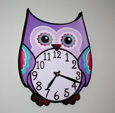 Pretty in Purple Owl Wooden WALL CLOCK for Girls Bedroom Baby Nursery. $45.00, via Etsy.