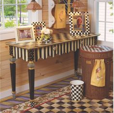 MacKenzie-Childs Courtly Stripe Console Table | Fast Shipping
