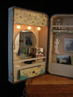 good idea for a vintage suitcase, also great to put on my desk instead of buying a vanity!