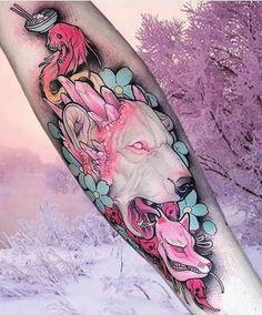 Pastel grungy tattoo art