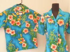 Vintage 70's Hawaiian Shirt Set, His and Hers, Turquoise Hibiscus Print, Men's Small,  Women's Medium Large, Tiki Oasis