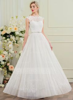 [US$ 207.49] A-Line/Princess Scoop Neck Floor-Length Organza Lace Wedding Dress With Beading Sequins