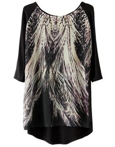 Indressme | Vintage print loose chiffon blouse style 3444 only $30.98 .