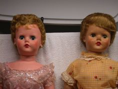 Pair of Sweet Rosemary dolls. The one on the left with the blue eyes needs help opening and closing her left eye when switching positions. Otherwise the eyes work. They are both in need of a good cleaning and probably some restoration. | eBay!