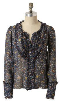 285d1f7db4837 Anna Sui For Anthropologie Rotterdam Silk Blouse Size 0 (XS) 72% off retail