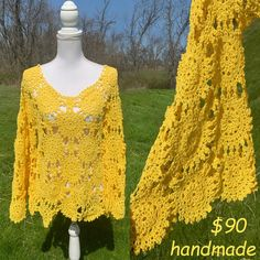 Really love this finished top by my pattern And real bargain if you hurry! Pattern: www.etsy.com/shop/CONCEPTcreativeSTORE Ready made garment offered by CarolsCrochetCo from New Jersey, USA: www.etsy.com/listing/983951684/yellow-bell-sleeved Only 1 available for $90