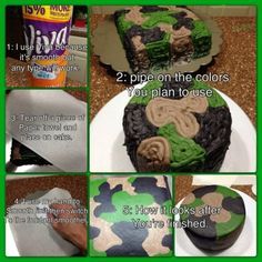 How To Do Piped Camouflage Buttercream Cake.. Wish I knew this trick when image Jarod's grooms cake !!!