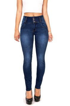 Stretchy high rise skinny jeans with a 5 pocket construction with a triple button and zip fly closure. Curved back pocket details and a lifted flattering fit. *Machine Wash Cold *54% Cotton/24% Polyes