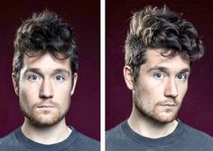 Dan Smith of Bastille, with fluffy controlled hair and brilliant blue eyes