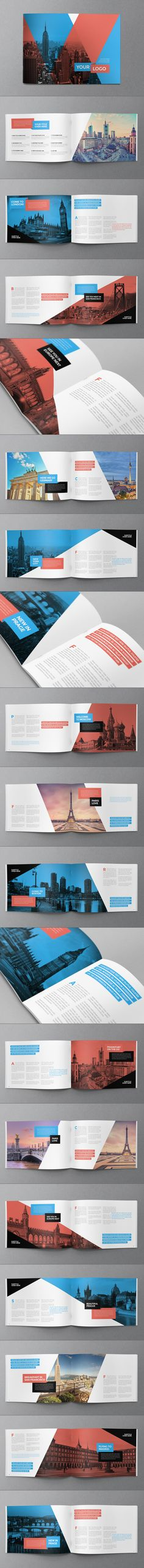 Buy Modern Travel Brochure by AbraDesign on GraphicRiver. MODERN TRAVEL BROCHURE This brochure is an ideal way to showcase your travel business in an original way. Web Design, Layout Design, Print Layout, Book Design, Brochure Indesign, Brochure Layout, Brochure Template, Brochure Ideas, Portfolio Covers