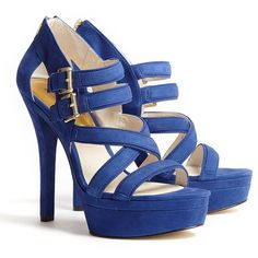 887a04318172 MICHAEL Michael Kors Blue Aria Suede Platform Sandal ( 268) ❤ liked on  Polyvore Strappy