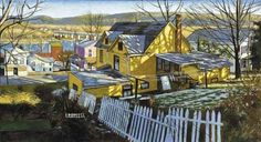 Brian Keeler - Yellow House, Towanda, Pennsylvania: The colors here are wonderful--so evocative of spring. The town, the air, the river, and even the ground are so clean. The lingering snow won't last too much longer. Note by Roger Carrier