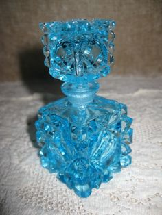 Vintage Beautiful ICE Blue Glass Perfume Bottle With Stopper Diamond Pattern | eBay