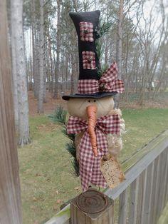 FOLK Art PrimiTive ChrisTmas Holiday WinTer SNOWMAN DOLL Tree Topper DecoraTion #Primitivelook #MelissaHarmon