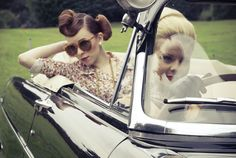Vintage fashion. Gatsby style driving. (By http://www.4autoinsurancequote.com - Insurance by women, for women).