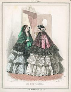 1850s Fashion, Victorian Fashion, Vintage Fashion, Civil War Fashion, Fashion Illustration Vintage, Fashion Plates, Fashion History, Fashion Prints, Costume