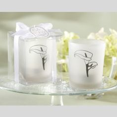 """Lovely Lily"" Frosted Glass Holders (Set of 4)"