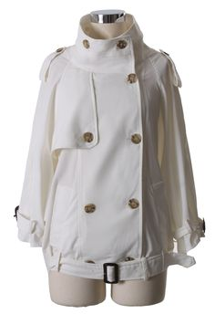 Double Breasted Chiffon Trench Coat in White - Best Sellers - Retro, Indie and Unique Fashion