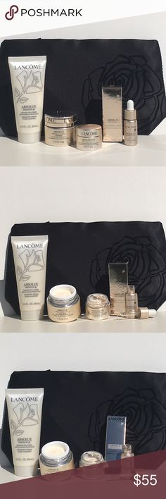 NWT! Lancôme Absolue Precious Cell Premium Set. NWT! Lancôme Absolue Precious Cell Premium Set. One of Lancôme's Top of the Line Skin Care Products. You Get Absolue Advanced Creamy Foam Cleanser, Absolue Precious Cell Day Moisturizer SPF 15 0.5 oz., Absolue Eye Precious Cell Repair & Rejuvenating Eye Cream 0.23 oz., Absolue Precious Nourishing Luminous Oil 0.16 oz., PLUS LANCÔME EXTRA LARGE BLACK W/RAISED ROSE EMBROIDERED COSMETIC CASE. Lancome Makeup