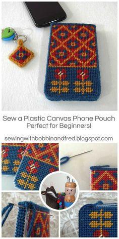 crochet phone pouch DIY: Make a Plastic Canvas Phone Pouch with a Fair Isle Design by Bobbin and Fred - Protect your phone with this cute Fair Isle Tent Stitch Pouch. It's sturdy, hard-wearing and even splash proof! There really is no greater . Plastic Canvas Stitches, Plastic Canvas Crafts, Plastic Canvas Patterns, Easy Crochet Projects, Diy Crochet, Freeform Crochet, Crochet Afghans, Crochet Flower, Irish Crochet