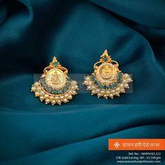 idea for shape / structure of piece Gold Jhumka Earrings, Jewelry Design Earrings, Gold Earrings Designs, Gold Jewellery Design, Antique Earrings, Necklace Designs, Small Earrings, Jewelry Art, Gold Necklace