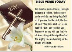 Bible Alive: Matt. 26: 63. But Jesus held his peace. And the high priest answered and said unto him, I adjure th