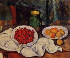 Still Life with a Plate of Cherries - Cezanne Paul