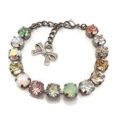 SWAROVSKI CRYSTAL BRACELET, pastels, multi color, designer inspired, 8mm, classy, dksjewelrydesigns
