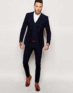ASOS – Sehr eng geschnittener Anzug in Marineblau