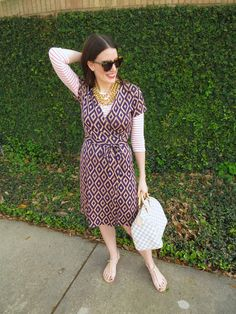 vintage dvf wrap dress layered with shirt
