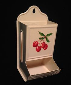 Vintage 40s 50s Matches Matchbook Kitchen Metal Holder Stove Yellow Cherries