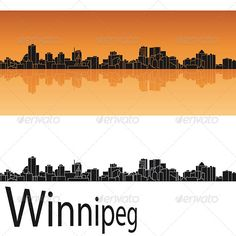 Winnipeg Skyline in Orange Background