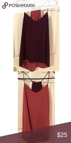 Express Reversible Barcelona Cami Top Berry/ Scallop trim. V-neck, spaghetti straps Modified racer back with keyhole slit. Reversible two-layer top. Flowing shape w/ hi-lo hem. Polyester. No stains. Like new. Perfect for spring 🌸 Express Tops Camisoles