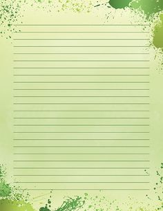 Free printable green paint splatter stationery for x 11 paper. Available in JPG or PDF format and in lined and unlined versions. Printable Lined Paper, Free Printable Stationery, Notebook Paper, Borders And Frames, Stationery Paper, Paint Splatter, Writing Paper, Note Paper, Planner Pages