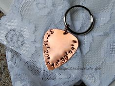 Coordinates Key Chain Guitar Pick Key Chain by uniQue2ChicDesigns