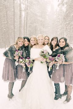 winter bridesmaids covered in snow -- just look at those gorgeous tights!