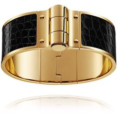 Hermès Charniere Cuir Large Bracelet (€755) ❤ liked on Polyvore featuring jewelry and bracelets