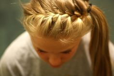This would be cute with the last bit of hair curled (: