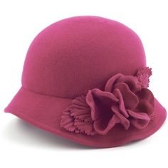 Flowered Cloche Wool Hat Pink ($74) ❤ liked on Polyvore